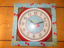 New light blue wall clock red cherries retro round 1950's style cherry