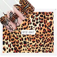 Nail Art Water Decals Stickers Transfers Brown Leopard Animal Print Tiger (847)