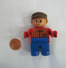 "LEGO DUPLO FATHER MAN DAD in VEST w/ BROWN HAT 2.5"" FIGURE Rare!"
