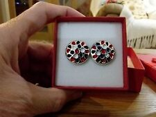 Brand new silver look earrings with multi coloured splashes + gift box