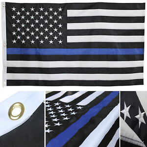 6x10 Embroidered USA Police Thin Blue Line Rough Tex 300D Nylon 6'x10' GROMMETS
