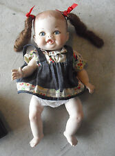 """Cute Deegee Signed Jointed Porcelain Baby Girl Doll 10 1/2"""" Tall"""