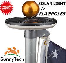 Sunnytech 2016 New Generation-Black Solar Flag Pole Flagpole 20Led Yard Light A1