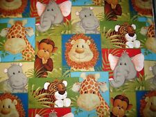 1/4 Yard Jungle Babies Lion Monkey Giraffe Elephant Fabric Quilt 100% Cotton