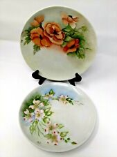 Two Hand Painted Plates Poppies and Wild Roses Artist Signed Floral Autumn Color