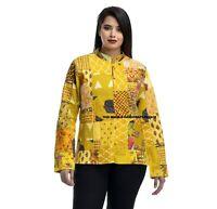 Veste Coton Indien Handmade Femmes Hiver Chaud Manteau Jaune Patchwork Blazers