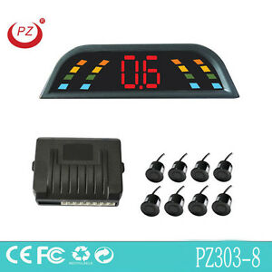 LED Parking Sensor with 8 Sensors(front 4/rear 4) PZ303-8 Car Reversing Radar