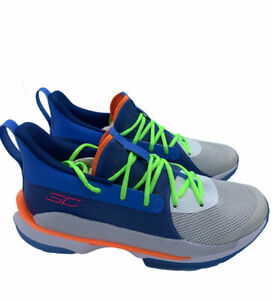 Under Armour Curry 7 Super Soaker Blue Basketball Shoes Rare 3021258 404 Mens