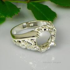 10mm Round Mens Nugget Swirl Sterling Silver Ring Setting Sz11 Casting - Mount