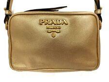 Auth PRADA 1BH096 Gold Leather Shoulder Bag