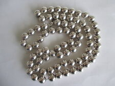 """Vintage Long Heavy 925 Sterling Silver Beads Necklace 31"""" 85 grams Signed D.E.C."""