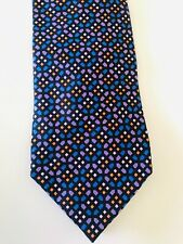 DUNHILL LONDON ABSTRACT DARK BLUE COLOURFUL MOTIF SILK TIE RRP £125