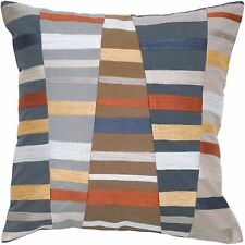 Striped Throw Pillow Gray Beige Gold Modern Rizzy Home Embroidered 18 x 18