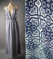 Global Moroccan Mosaic Tile Print Strappy Open Back Long Maxi 178 mv Dress S M L