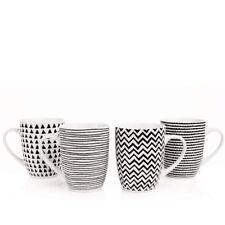 Sabichi Geo Sketch 4 Piece Black and White Porcelain Mug Set NEW