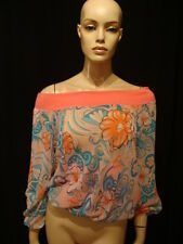 90s Vintage Striking Peach Blue Chiffon Blouson Top M