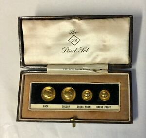 """""""The O.P. Stud Set"""" Edwardian 9 Carat Gold Set in Fitted Case, Gentleman's Gift"""