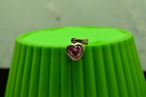 SILVER PLATED CUTE PINK HEART CUBIC ZIRCONIA PENDANT CHARM  #X29605