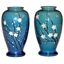 Pair Old Antique Japanese Awaji Enamelled Prunus Cherry Blossom Art Pottery Vase