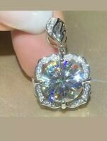 3Ct Round Cut Moissanite Flower Halo Pendant 14K White Gold Finish Without Chain