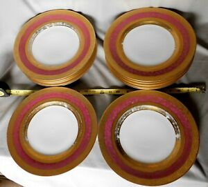 Vintage 1920/'s  Tirschenreuth P.T rare The Bray Gold encrusted Bavarian china salad  plates 8 REDUCED