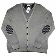 Men's COUNTRY CLUB Gray 6Btn Elbow Patch Cardigan Jumper Sweater 54 XL NWT