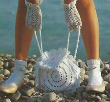 Ladies Bag and Gloves Crochet Pattern  DK and Perle 8 cotton 875