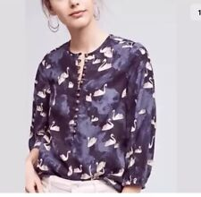 NWT Anthropologie Maeve Bethesda swan print flannel top blouse sz S