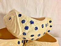 3 Rare Vintage Bordallo Pinheiro Fish Soup Bowl Cup Crock Blue Polka Dot Fish