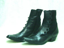 Victorian style faux Button cowgirl zipper style boots leather velvet uppers 8