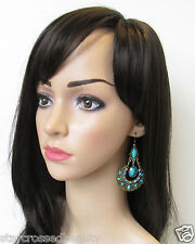 Turquoise and Gold Diamante Hook Earrings Drop Dangle Vintage Holiday Boho N17