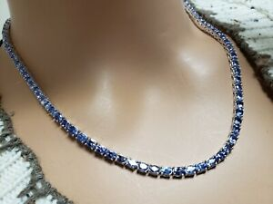 """Royal 16 carats Oval Tanzanite Tennis Necklace Rhodium over Sterling Silver 16"""""""