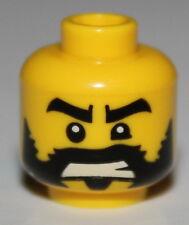 LeGo Yellow Minifig Head Beard Black Ragged Edges Black Eyebrows Bared Teeth