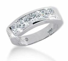 5 Princess Diamond Band Men Platinum Ring Gia certificate G Vvs/Vs, 5 x 0.40 ct