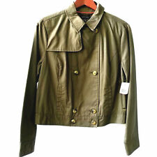 TOMMY HILFIGER Women's Olive Green Crop Moto Trench Jacket Size 10 Long Sleeves