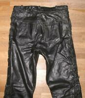 "Fat Men's Lace-Up Leather Jeans / Biker Trousers IN Black Approx. W33 ""/ L32 """