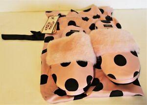 Victoria Secret Pink & Black Polka Dot Satin Lined Slippers Bag Sz Small 5/6 NWT