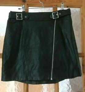 "TOPSHOP Black Faux Leather Mini Skirt Biker Sexy Casual Size:12 - Waist: 28"""