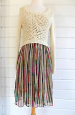 SLEEPING ON SNOW ANTHROPOLOGIE Somerset dress white sweater striped dress- Sz. S