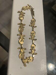 10K Solid Yellow Gold Bracelet Charms Tweety Bird Looney Tunes Walt Disney