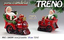 babbo natale treno portacandela cm 15 decorazione natalizia