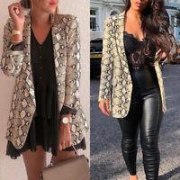 Fashion Women Snakeskin Suit Coat Business Blazer Long Sleeve Jacket Outwear Hot