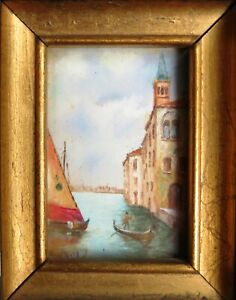 MURANO VENETIAN ITALY OIL PAINTED LANDSCAPE MINIATURE SIGNED GLASS & WOOD FRAME