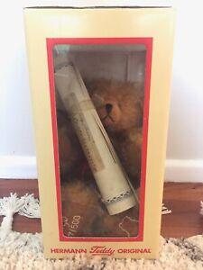 Hermann Teddy Original-Banjo Bear Dark Honey Blonde 10 years Old untouched boxed