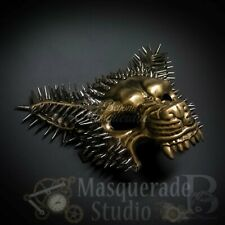 Men's Spiked Steampunk Wolf Costume Party Halloween Masquerade Mask [Gold]