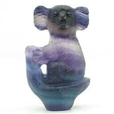 "2.48"" Koala Figurine Natural Gemstone Fluorite Carved Animal Statue Decor 3003"