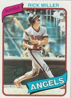 FREE SHIPPING-MINT-1980 TOPPS #48 RICK MILLER ANGELS (FACSIMILE AUTOGRAPH)