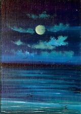 ACEO Original Acrylic Miniature Painting Sea Shore Gulls Ocean Seascape  HYMES