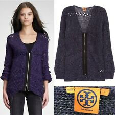 Tory Burch Palmira Open Knit Cardigan Women's S Small Purple Wool Blend Sweater