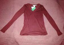 new H&M CONSCIOUS burgundy dark red V-neck top/long sleeve T-shirt,loose,S,8-10U